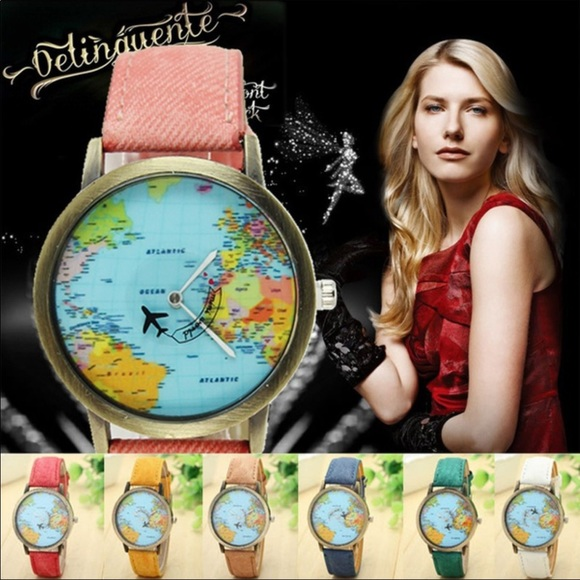 Farah jewelry accessories world map face watch poshmark m5bb32563035cf190dd52b2ec gumiabroncs Images